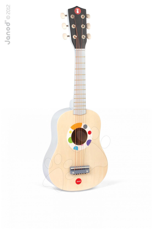Detské hudobné nástroje - Drevená gitara Confetti Natural Guitar Janod s realistickým zvukom dĺžka 64 cm od 3 rokov
