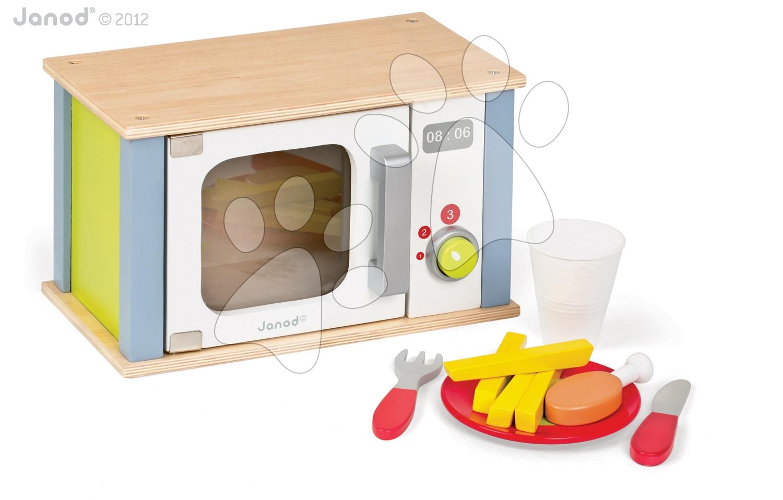 Drevené kuchynky - Drevená mikrovlnka Picnik Microwave Janod s 9 doplnkami