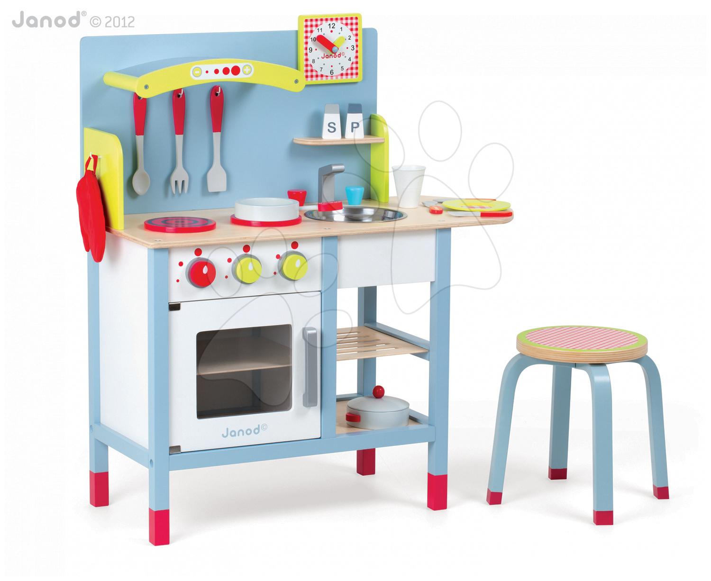 Staré položky - Drevená kuchynka Picnik Kitchen Janod so stoličkou a 16 doplnkami