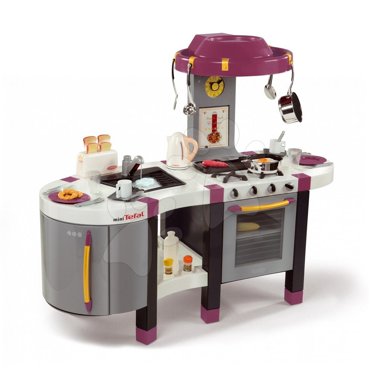 Bucătărie electronică French Touch Tefal Excellence Smoby bordou-galben cu apă curgătoare