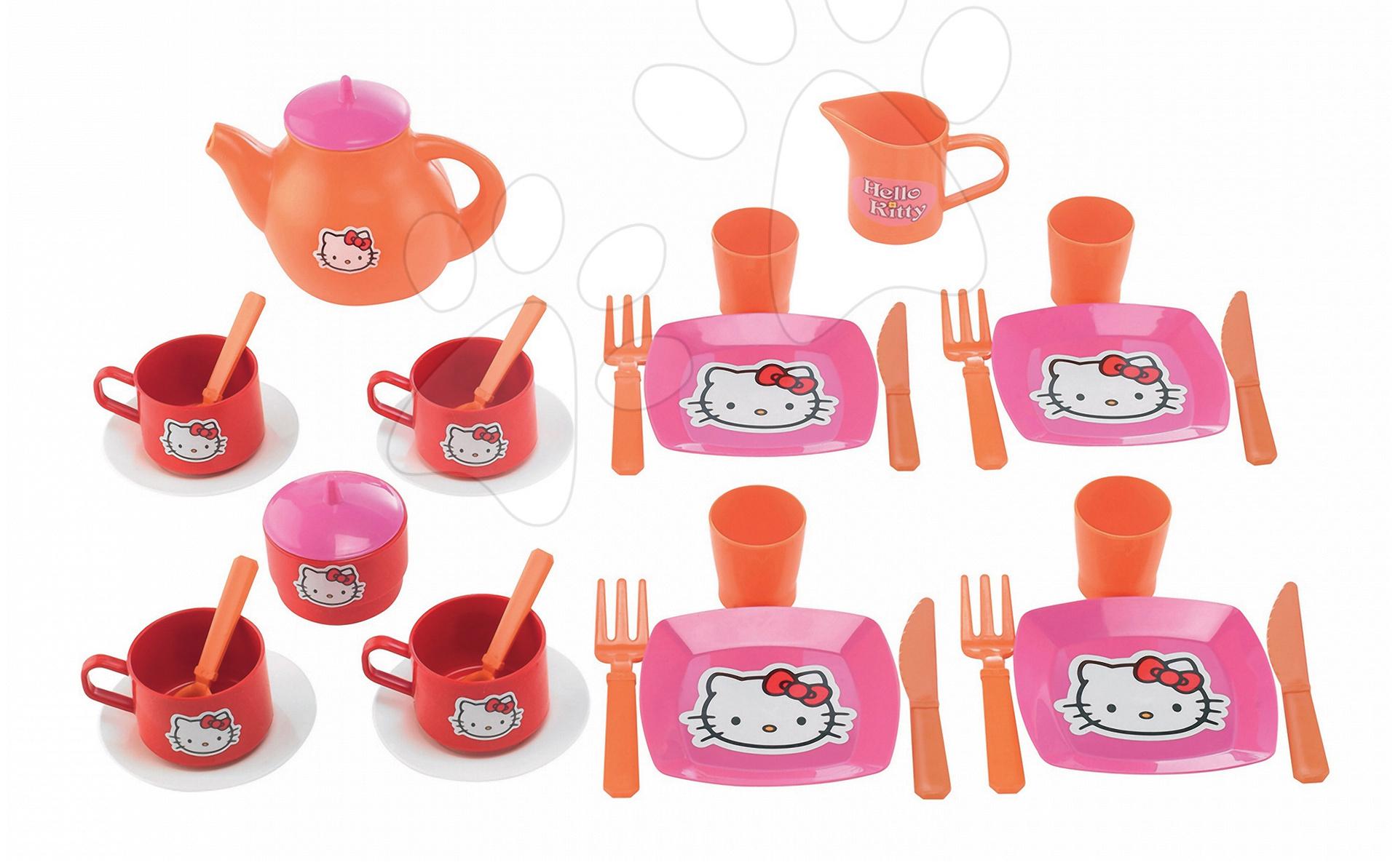 Čajni servis Hello Kitty Écoiffier velik z 33 dodatki rožnato-oranžna od 18 mes