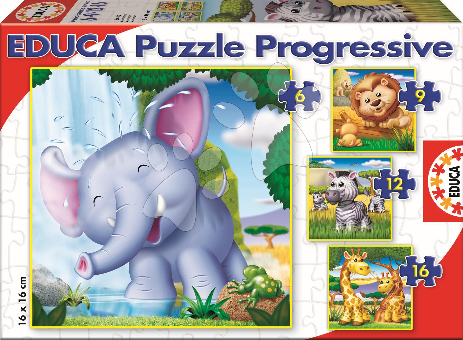 Puzzle Divoké zvieratá Educa 16-12-9-6 dielov od 24 mes