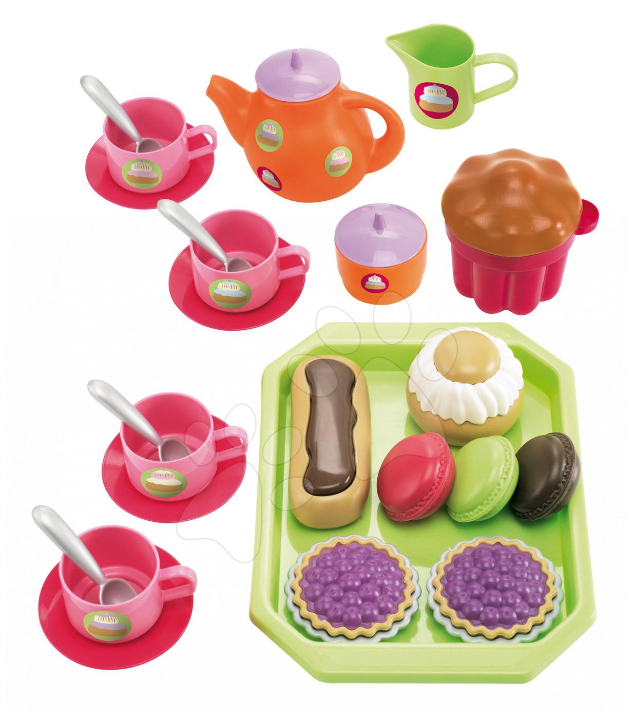 Čajni servis Bubble Cook Écoiffier na pladnju s slaščicami in 33 dodatki od 18 mes