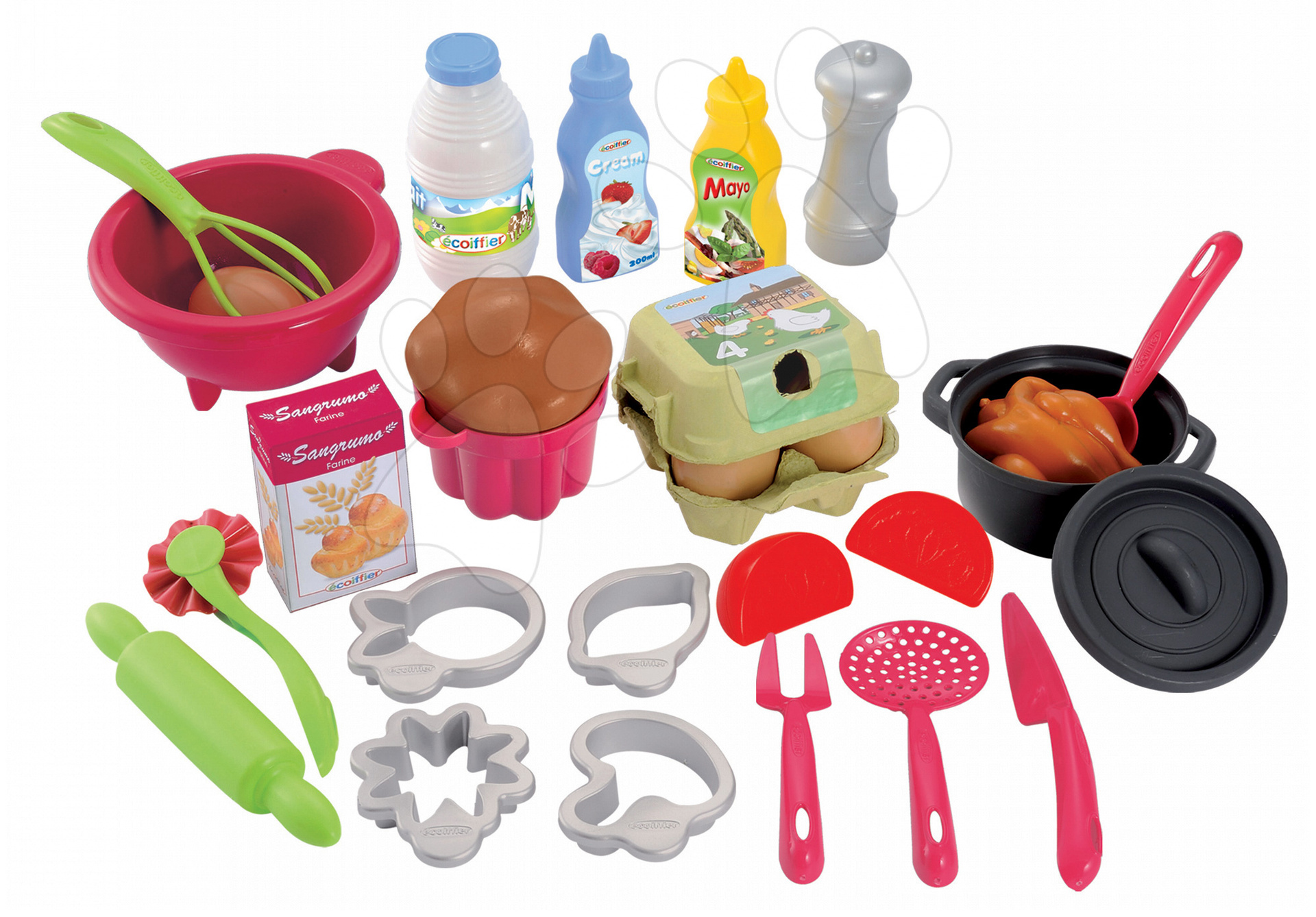 Nádobí a doplňky do kuchyňky - Kuchyňský set Pro Cook Écoiffier na vaření a pečení s 26 doplňky