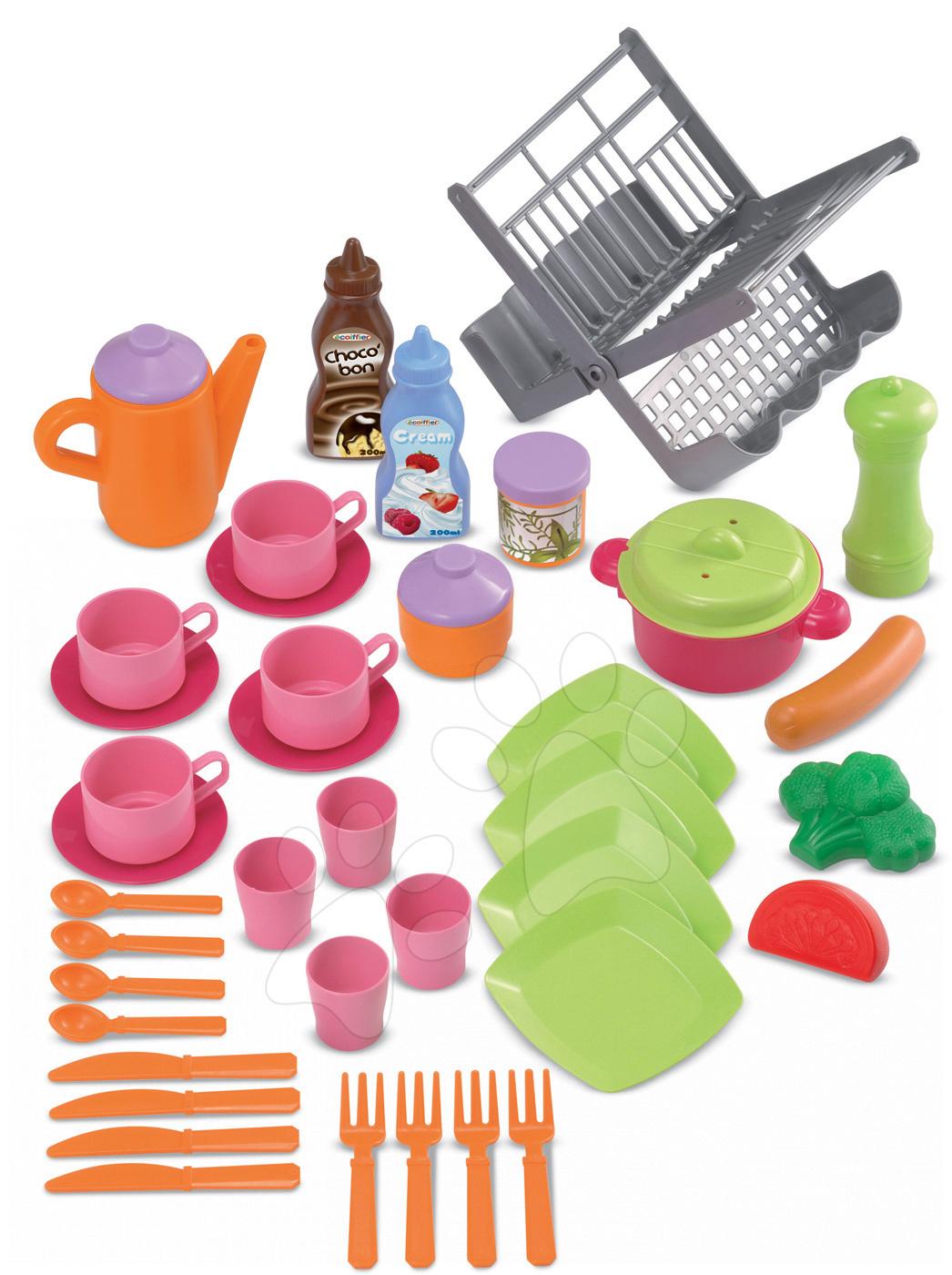 Nádobí a doplňky do kuchyňky - Sušička na nádobí Bubble Cook Écoiffier s 39 doplňky od 18 měsíců