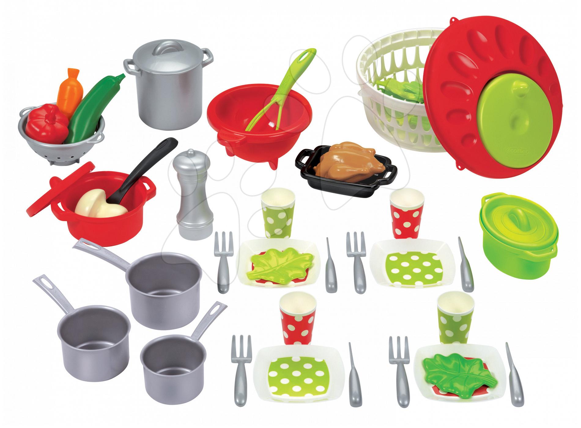 Riadíky a doplnky kuchynky - Súprava na obed 100 % Chef Écoiffier so 47 doplnkami od 18 mes