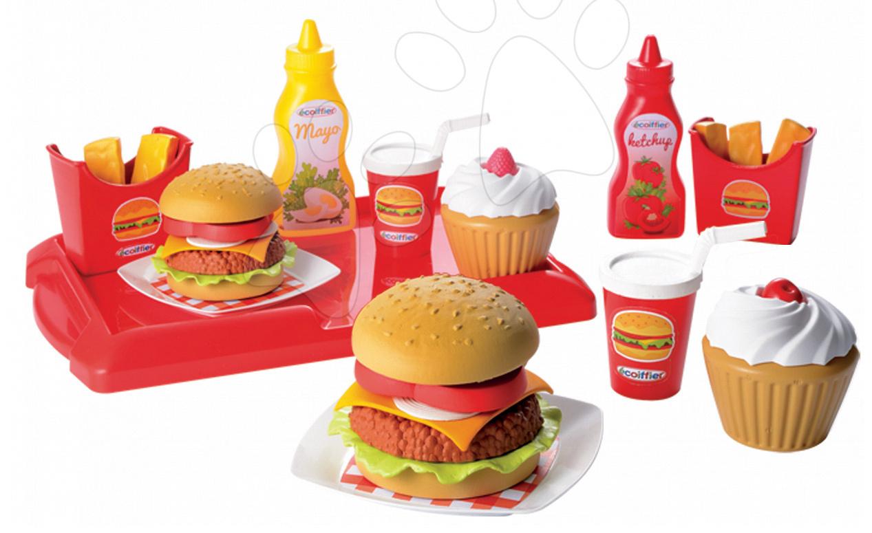 Riadíky a doplnky kuchynky - Set hamburgerov 100% Chef Écoiffier s 25 doplnkami od 18 mes