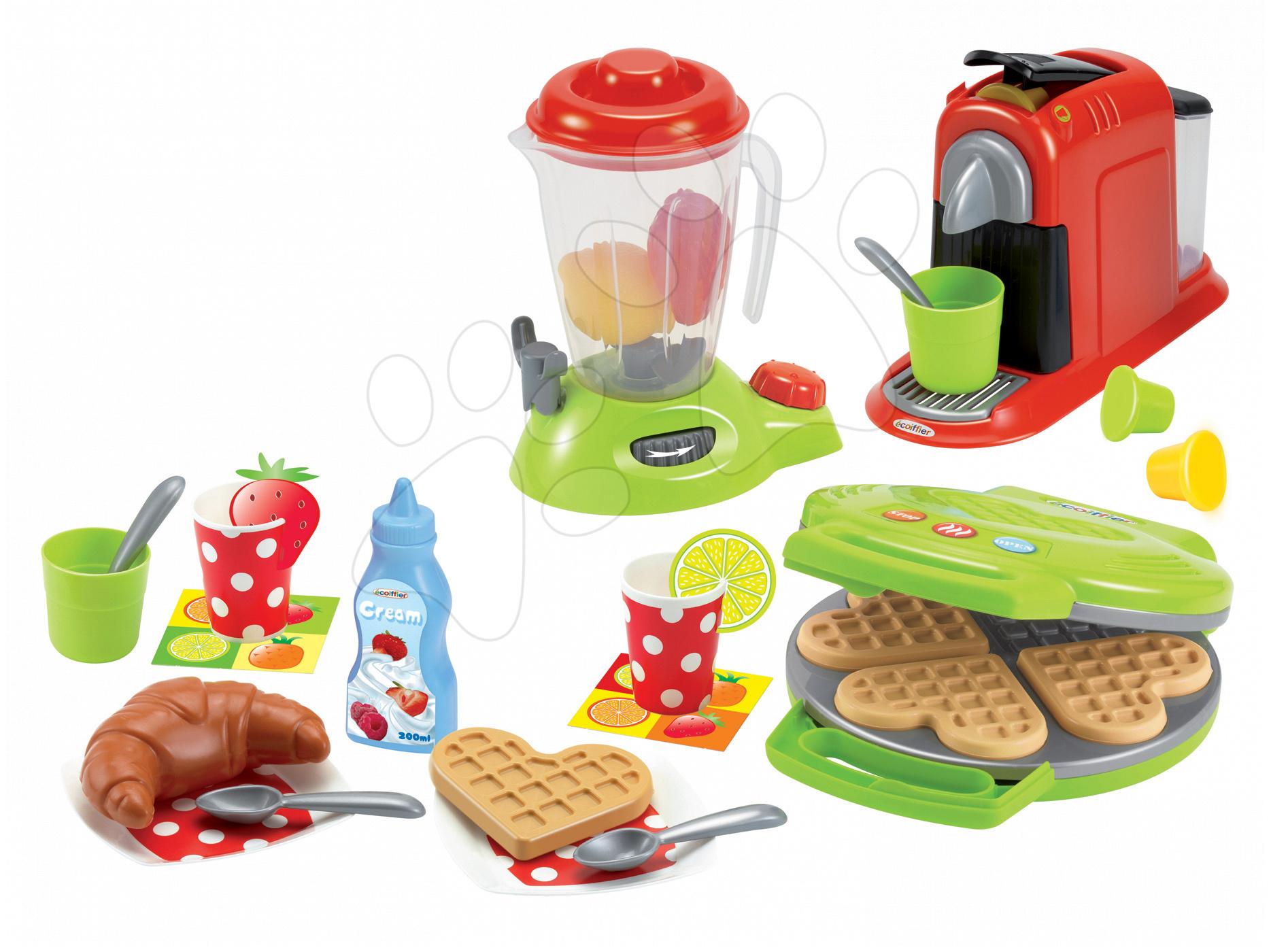 Játékkonyha kiegészítők és edények - Gofrisütő 100% Chef Écoiffier turmixgéppel, kávéfőzővel és gofrikkal 28 kiegészítővel zöld 18 hó-tól