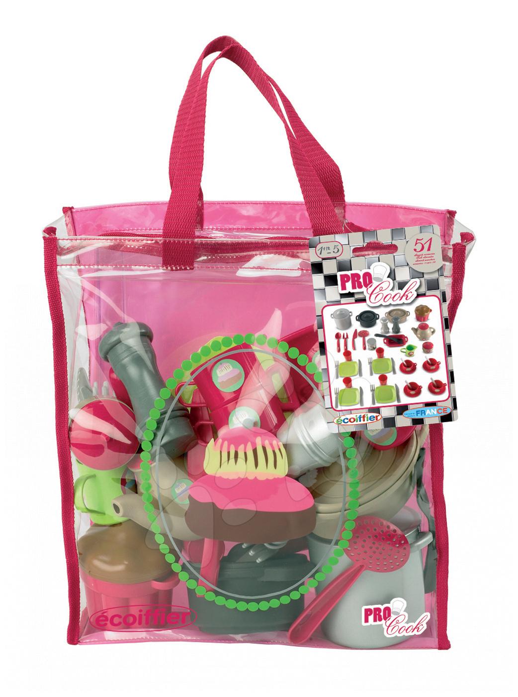 Set de veselă Pro Cook Écoiffier în geantă cu 51 de accesorii de la 18 luni