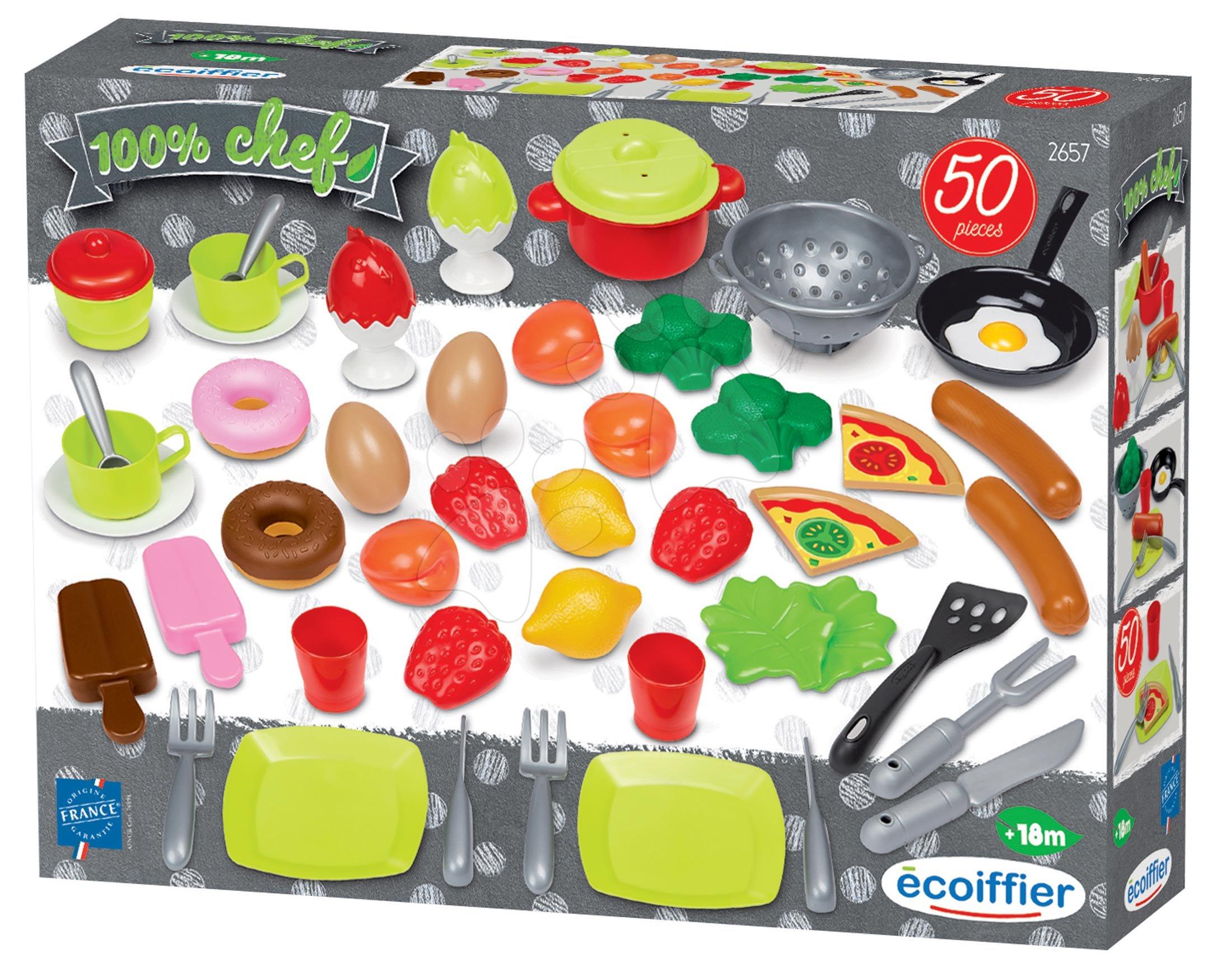 Potraviny a nádobí pro kuchyňku 100% Chef Écoiffier 50 druhů od 18 měsíců