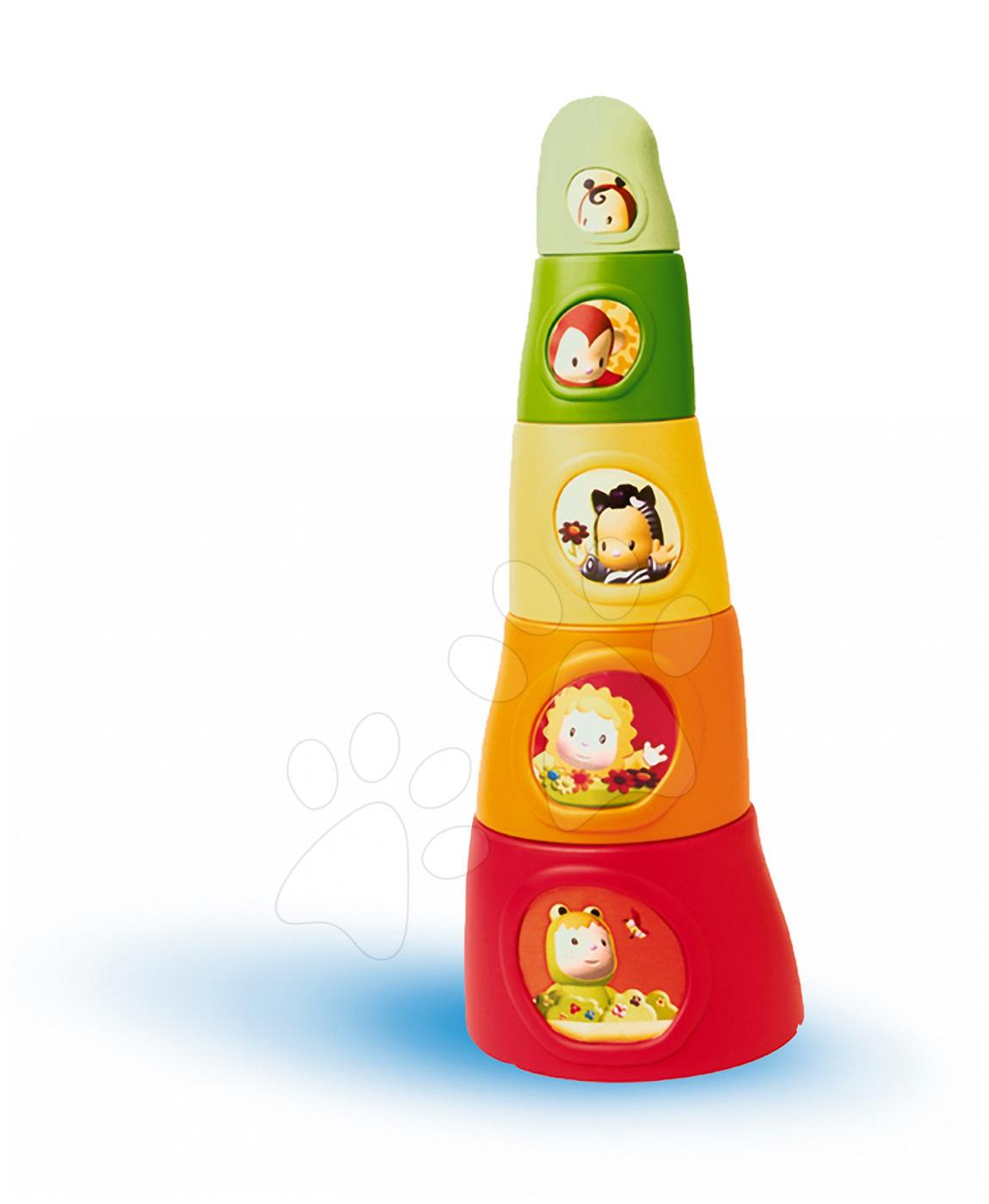 Skládací kelímky Happy Tower Cotoons Smoby 5 kusů oranžovo-zelené od 12 měsíců