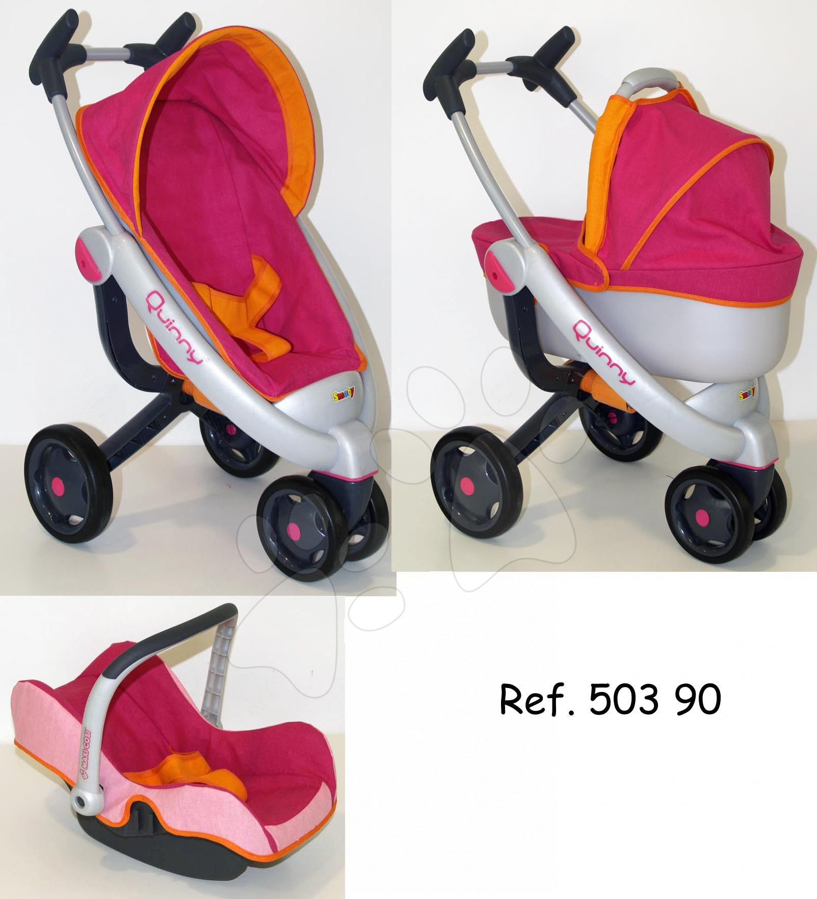 Kočík pre bábiku 3v1 Maxi Cosi & Quinny Smoby tmavoružovo-oranžový