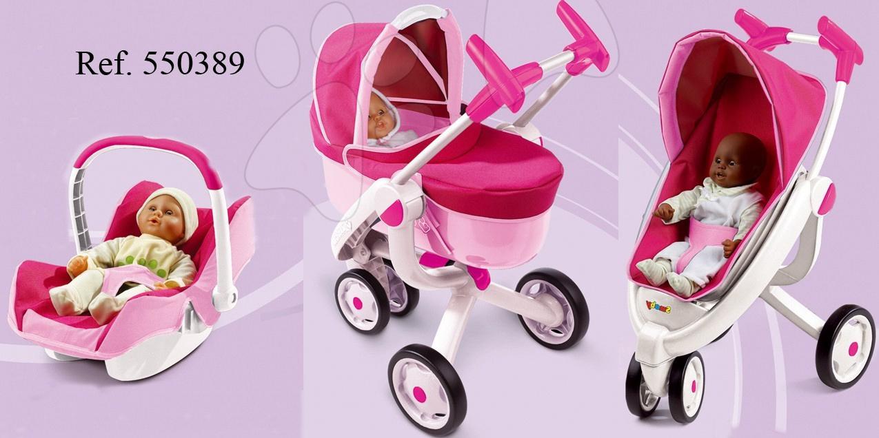 Kočárky pro panenky sety  - Kočárek pro panenku 3v1 Maxi Cosi & Quinny Smoby (70 cm rukojeť) bílo-růžový