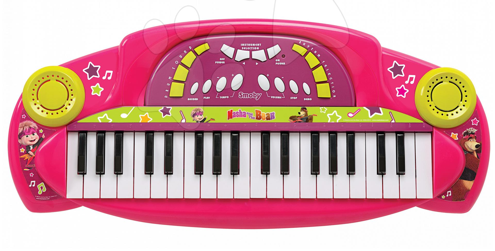 Hudební piano Máša Smoby elektronické se zvuky růžové