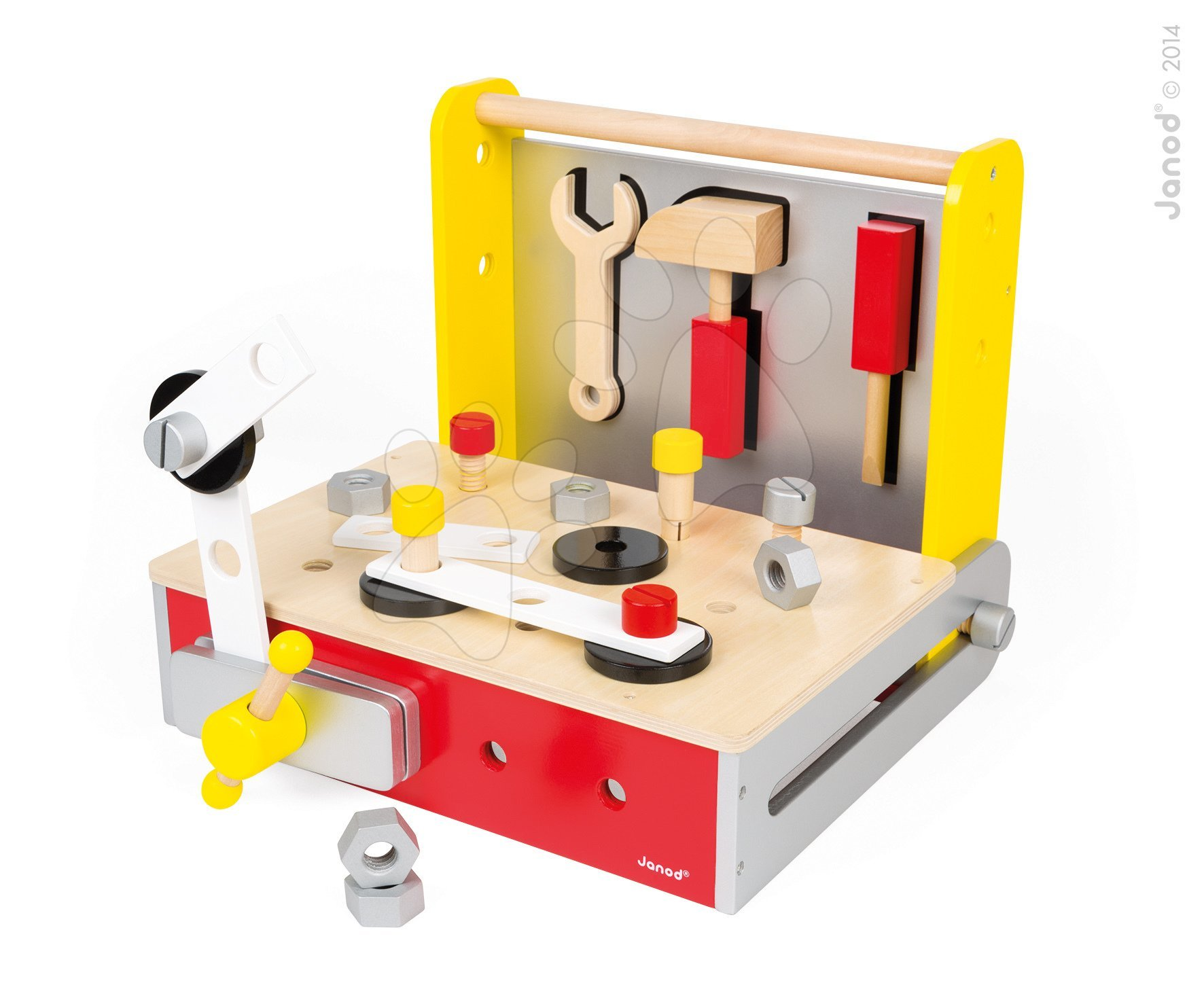 Pracovná detská dielňa - Drevený pracovný stôl Redmaster Bricolo Janod magnetický s 25 doplnkami