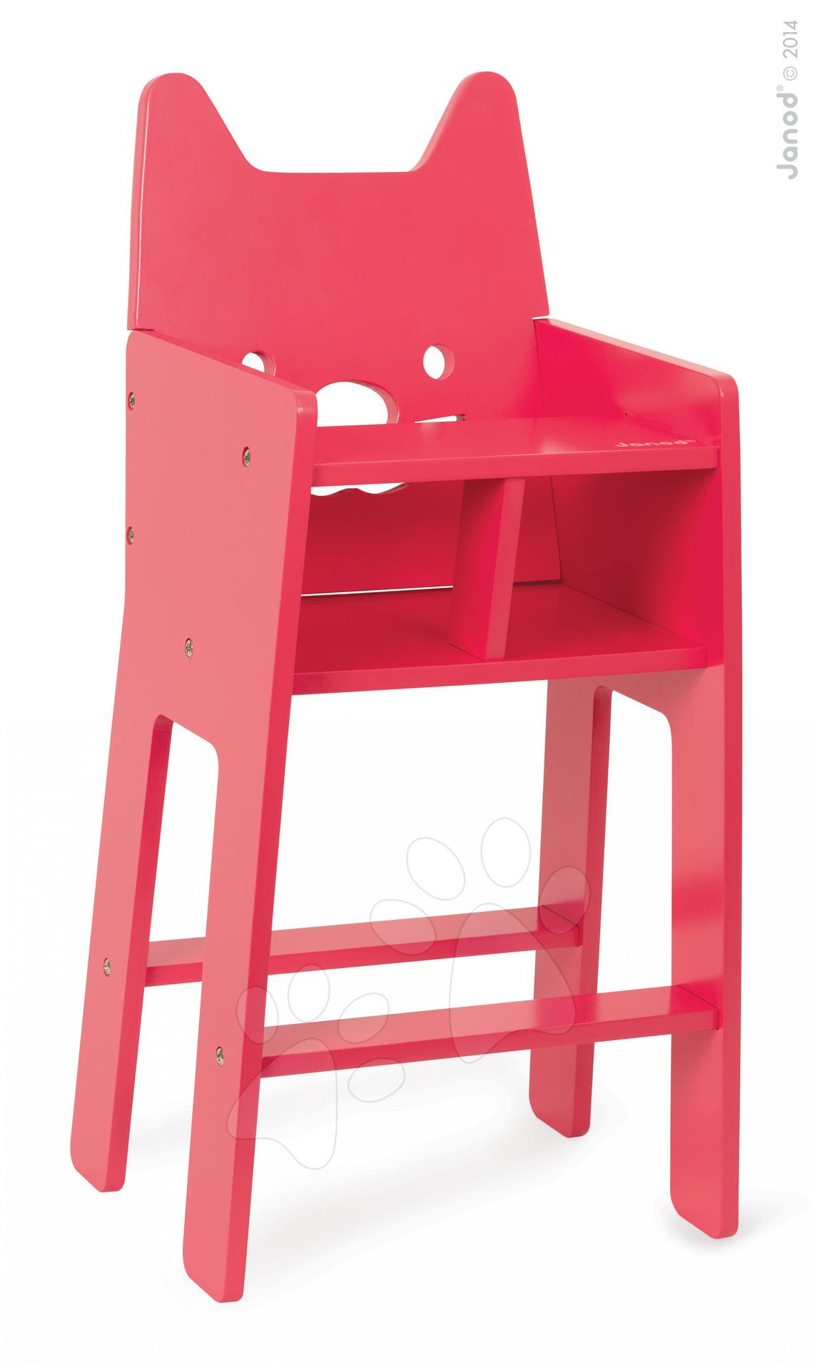 Stoličky pre bábiky - Drevená jedálenská stolička pre bábiku Babycat Janod