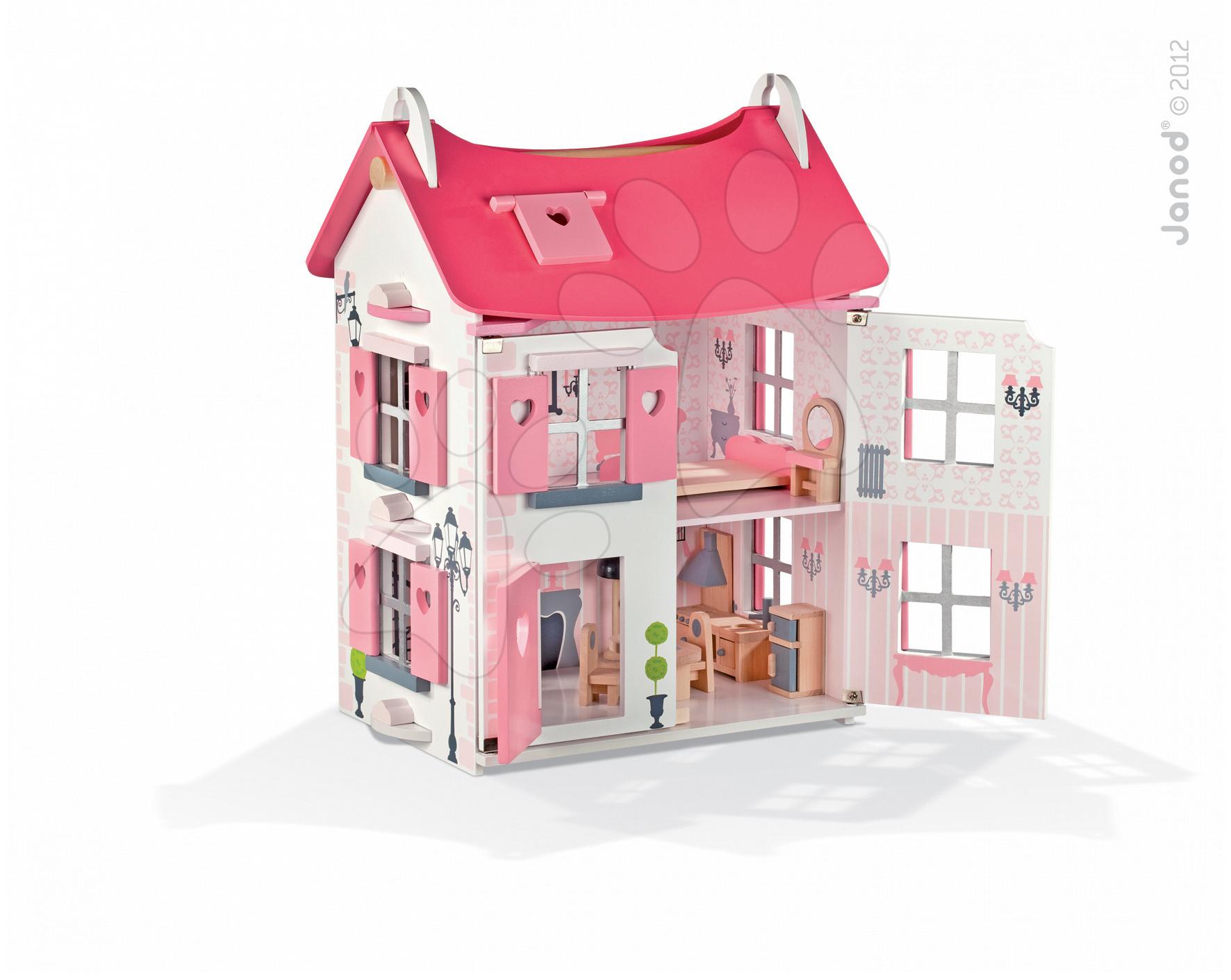Dřevěný domeček pro panenky Mademoiselle Doll 's House Janod se 17 doplňky