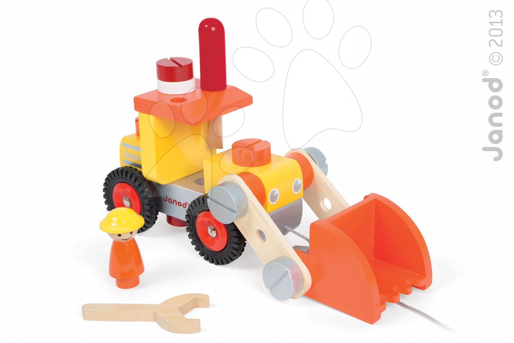 Pracovná detská dielňa - Drevená stavebnica buldozér Redmaster Bricolo Bulldozer Janod s náradím 24 dielov od 24 mes