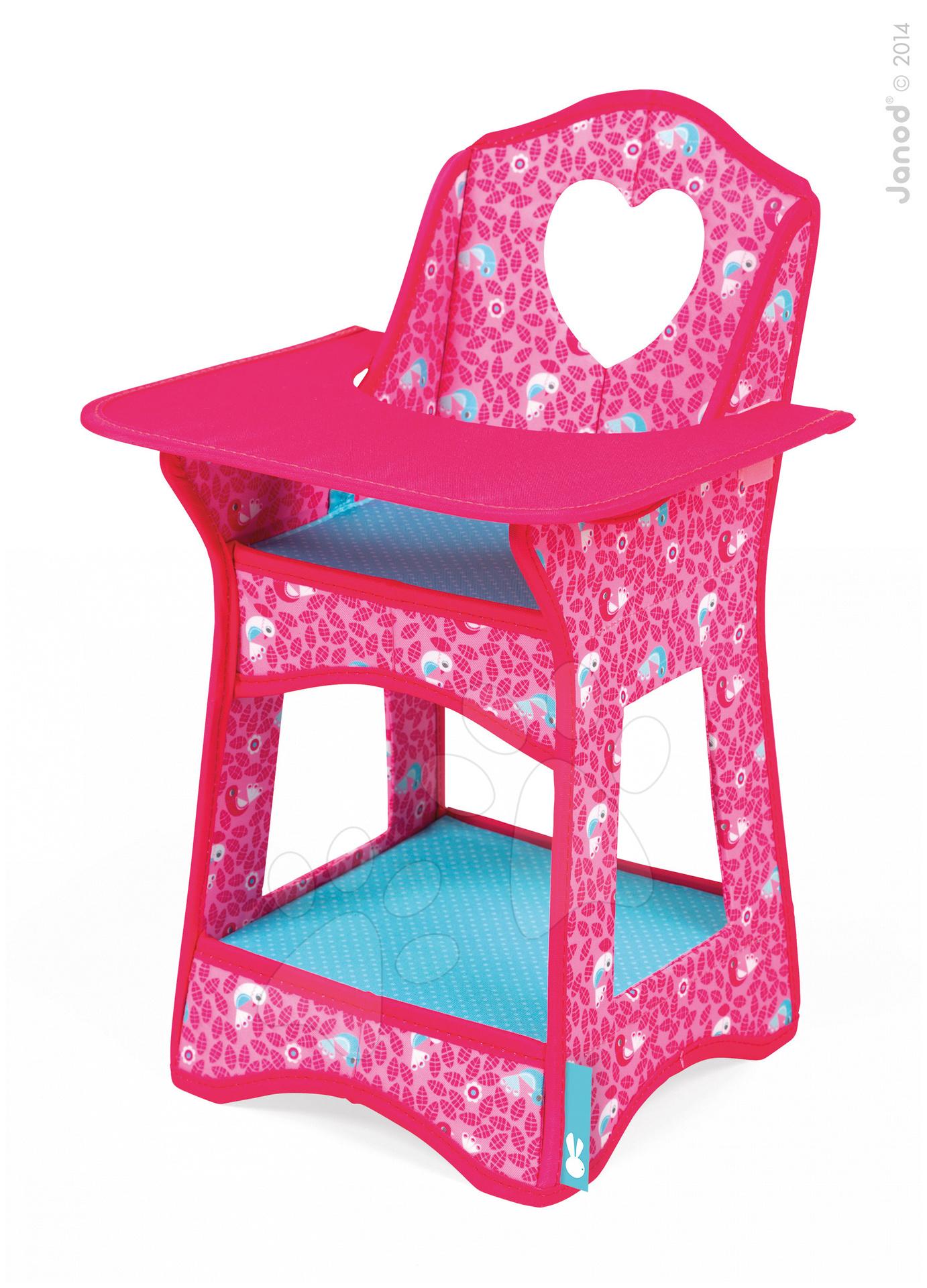 Jídelní židle Birdy Paradise Janod pro 36 cm panenku růžová od 24 měsíců