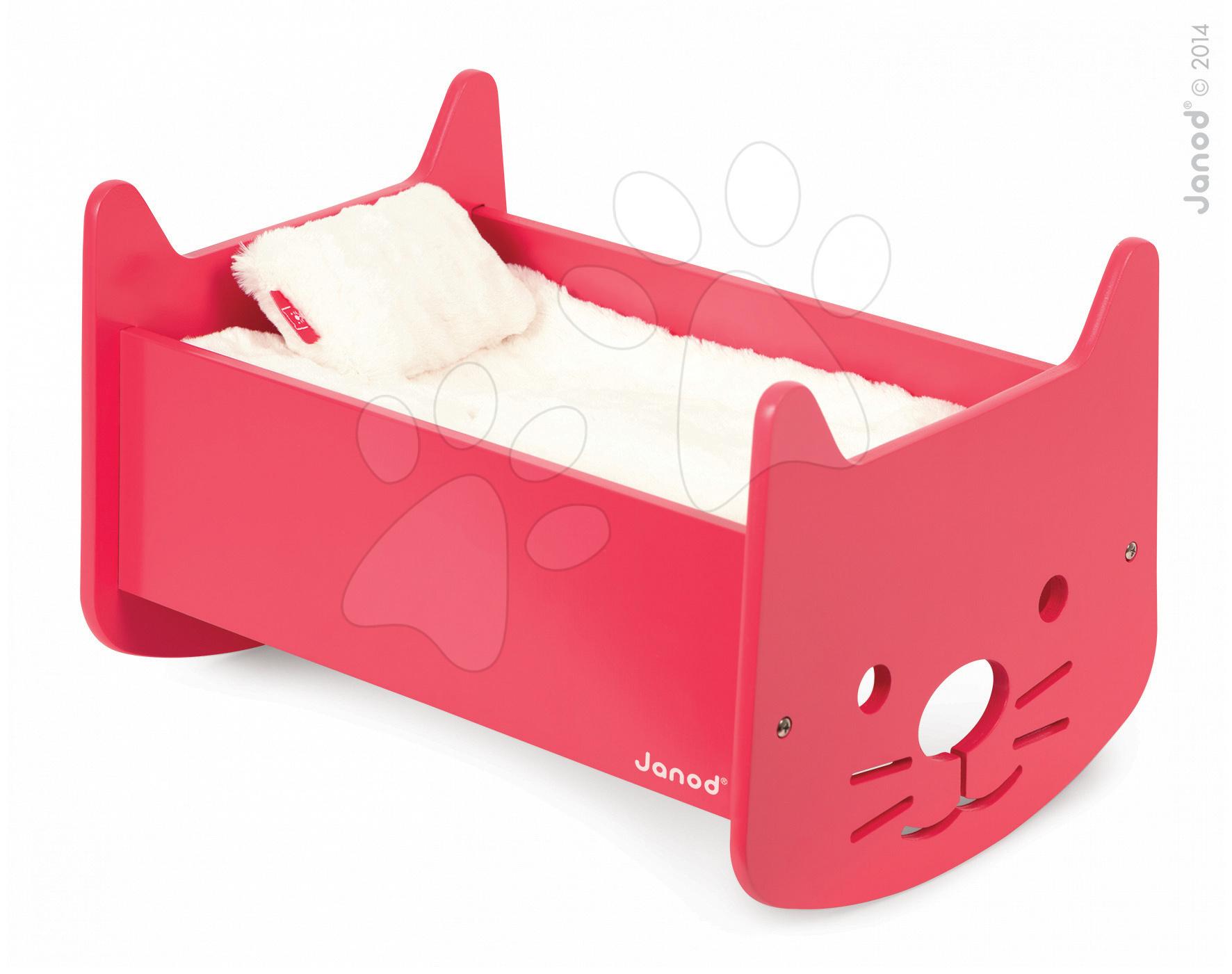 Postieľky a kolísky pre bábiky - Drevená kolíska pre bábiku Babycat Janod s perinkou