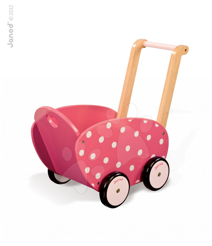 Dřevěný kočárek pro panenku Framboisine Doll 's Pram Janod chodítko od 1 roku