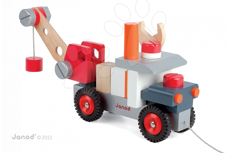 Pracovná detská dielňa - Drevená magnetická stavebnica auto Redmaster Bricolo Janod so žeriavom 25 dielov od 24 mes