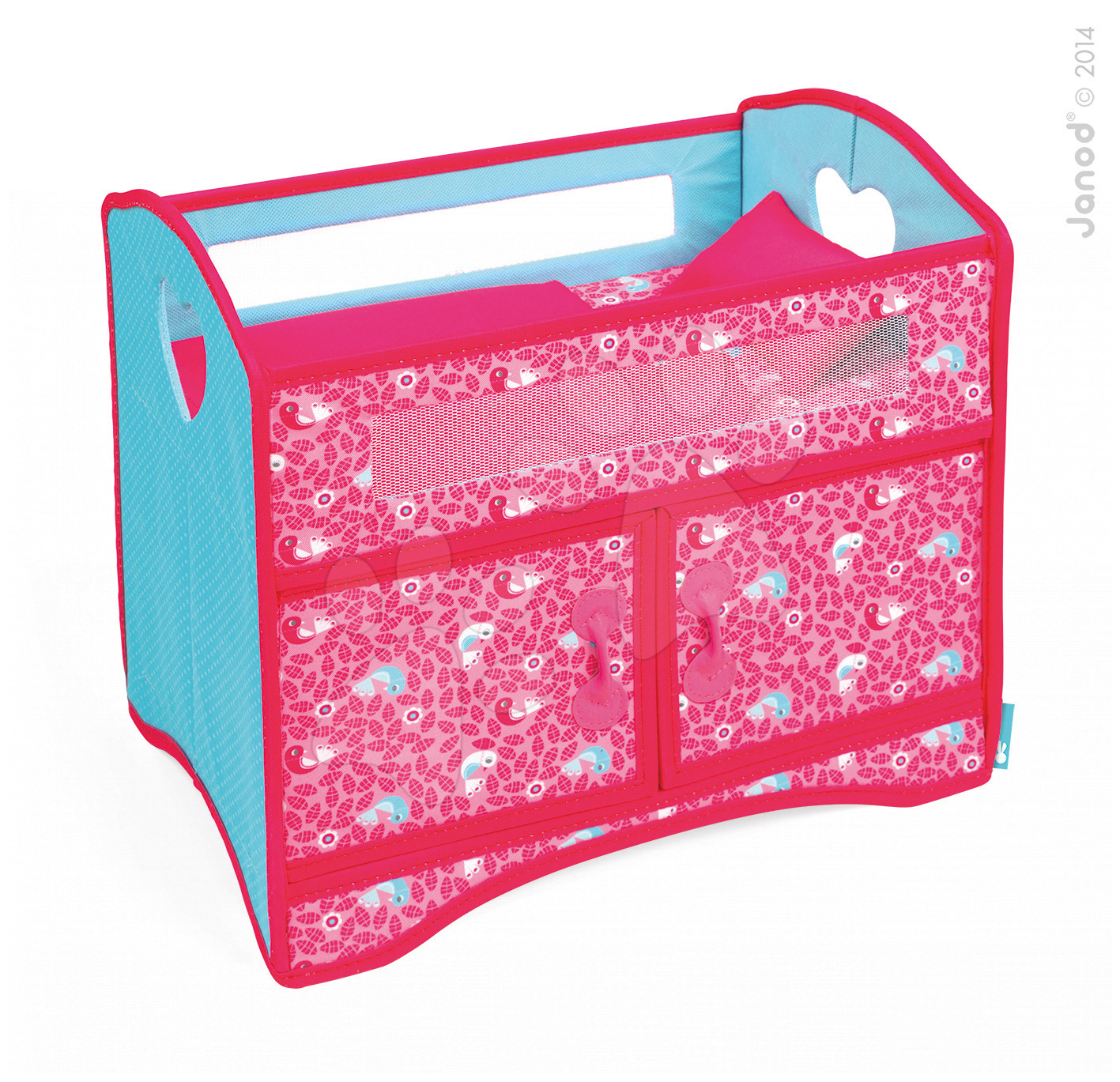Postýlka pro panenku do 36 cm Birdy Paradise Janod textilní se skříňkou a peřinkou růžová od 24 měsíců
