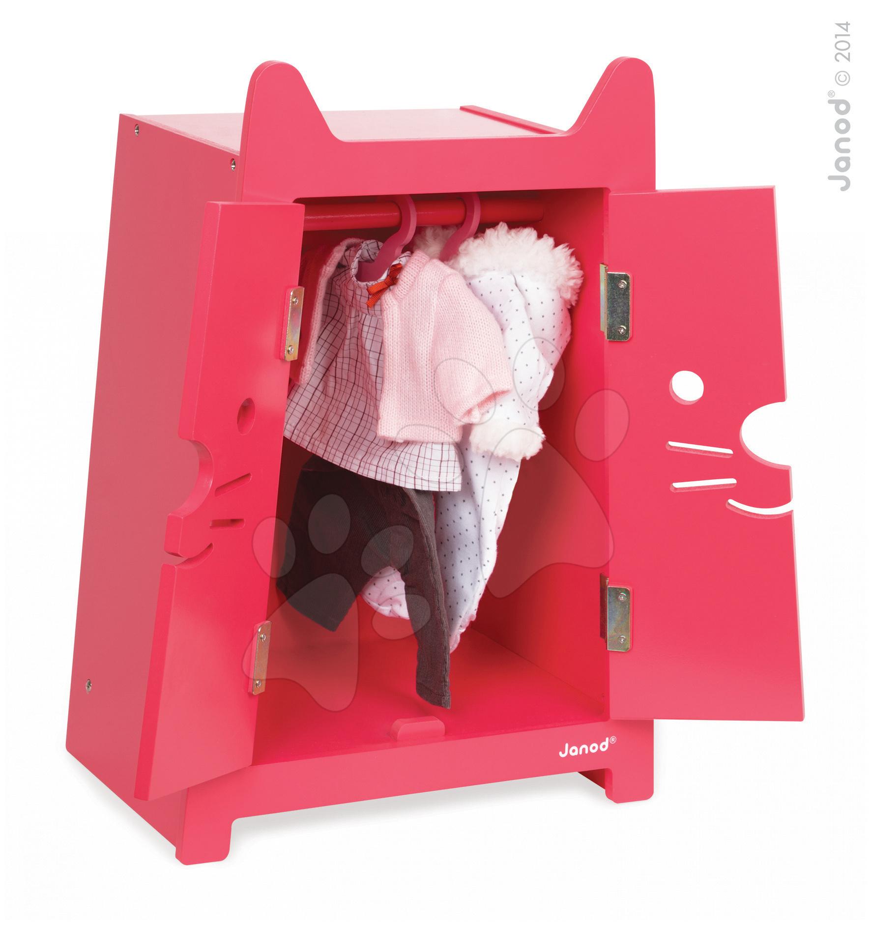 Domčeky pre bábiky - Drevená skrinka pre bábiku Babycat Janod dvojkrídlová s vešiakmi