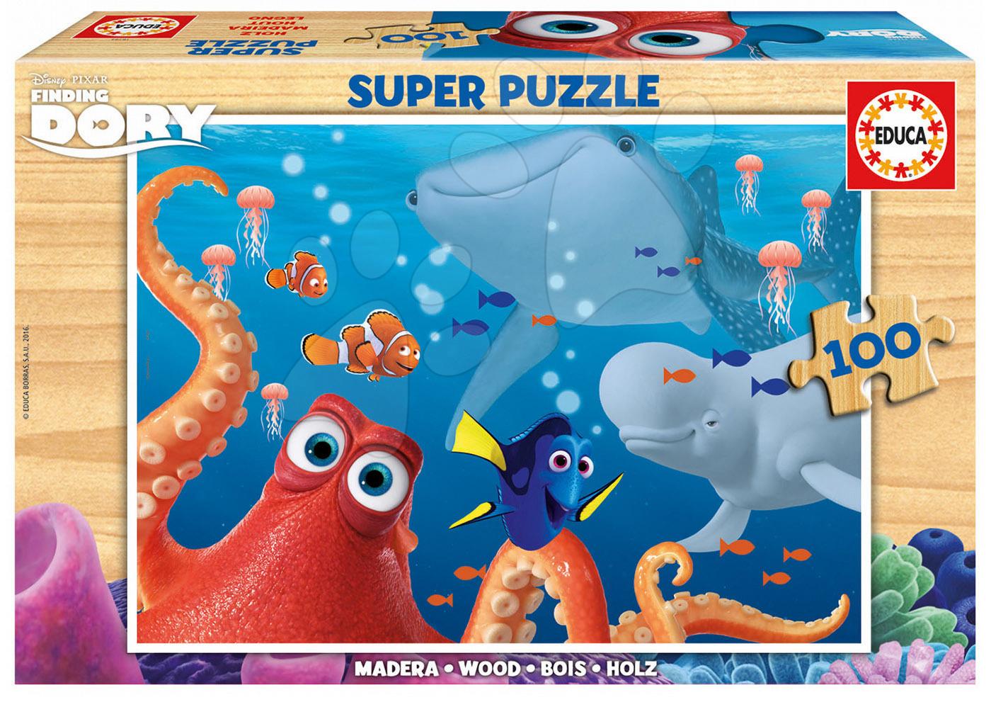 Drevené Disney puzzle - Drevené puzzle Hľadá sa Dory Educa 100 dielov od 5 rokov
