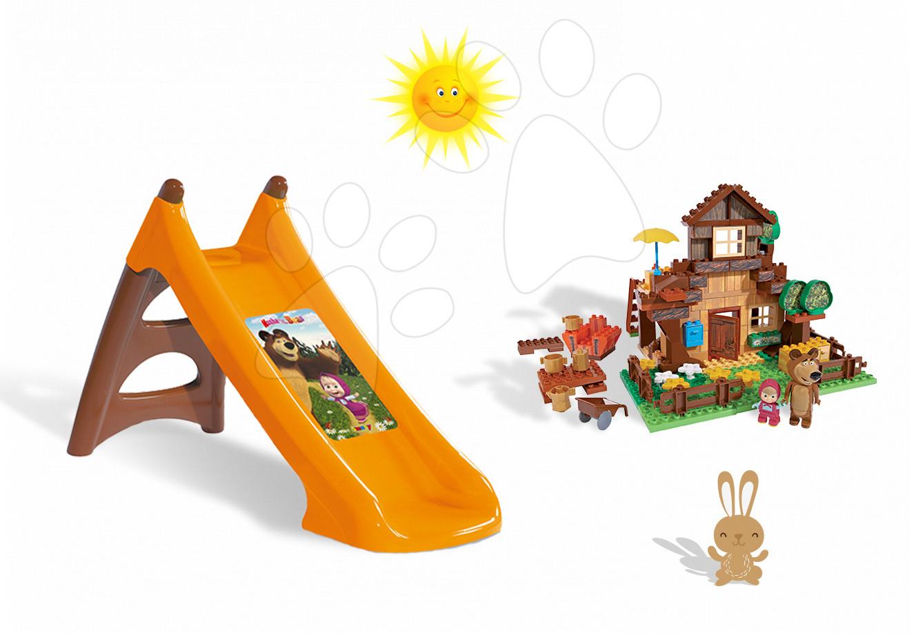 Staré položky - Set skluzavka Máša a medvěd Toboggan XS Smoby délka 90 cm a stavebnice PlayBIG Bloxx domeček 162 dílů od 24 měsíců