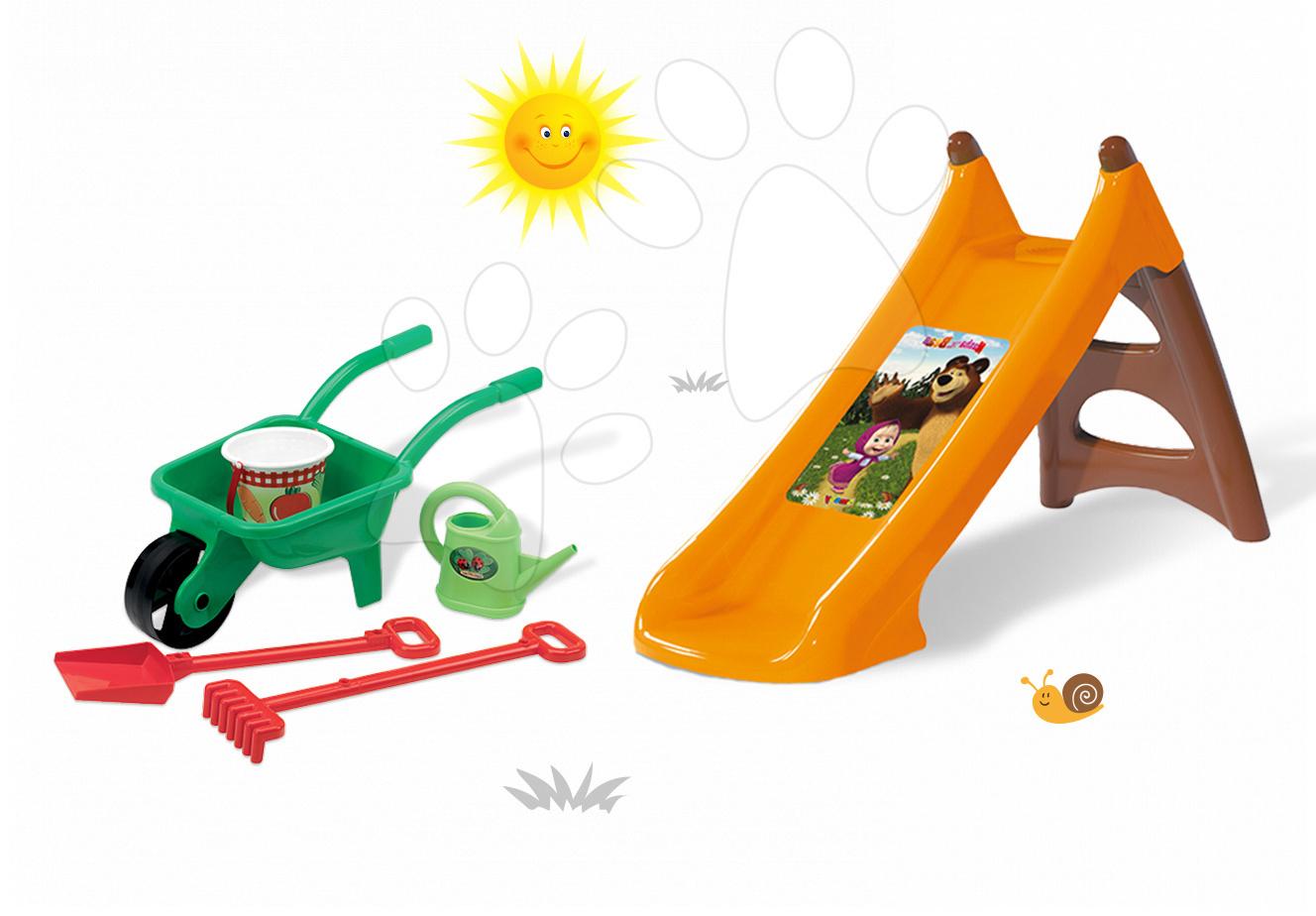Staré položky - Set šmykľavka Máša a medveď Smoby Toboggan XS dĺžka 90 cm a fúrik s pracovnými nástrojmi od 24 mes