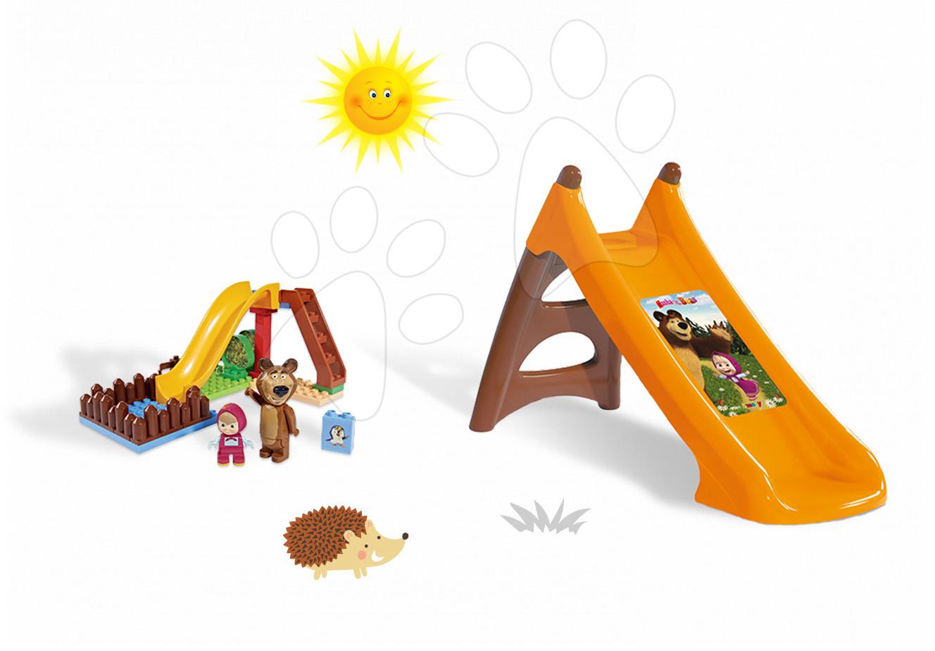 Set skluzavka Máša a medvěd Toboggan XS Smoby délka 90 cm a stavebnice PlayBIG Bloxx na skluzavce od 24 měsíců