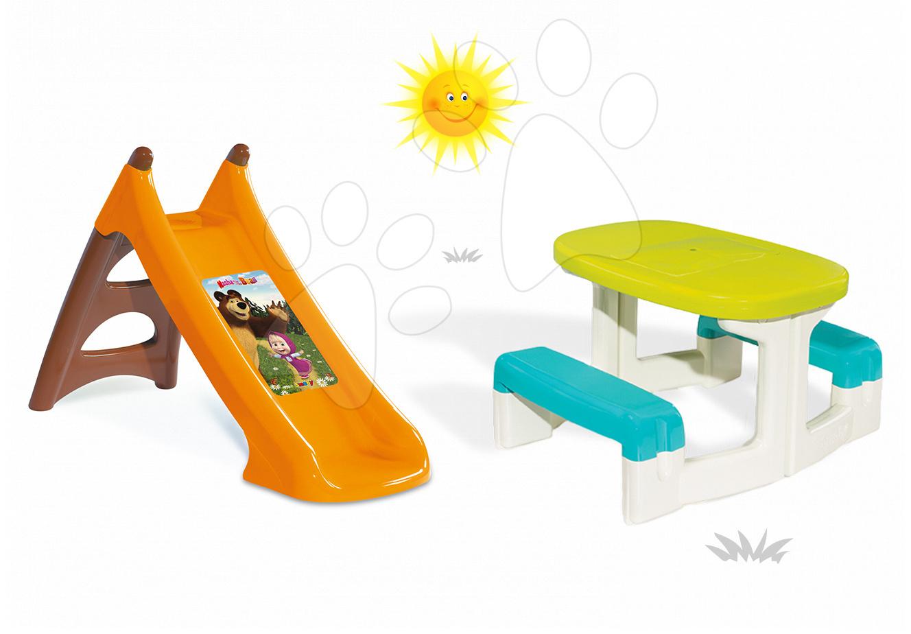 Šmykľavky sety - Set šmykľavka Máša a medveď Smoby Toboggan XS s vodou dĺžka 90 cm a stôl Piknik s úložným priestorom od 24 mes