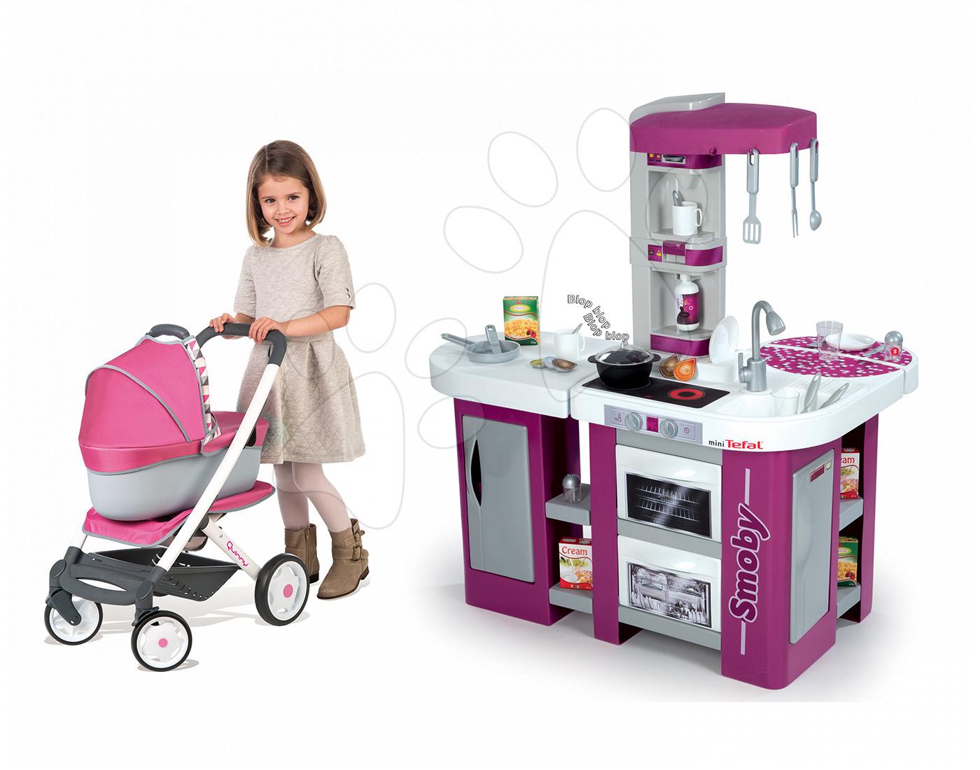 Kuchynky pre deti sety - Set kuchynka Tefal Studio XL Smoby s umývačkou riadu a chladničkou a kočík pre bábiku 3v1 retro Maxi Cosi & Quinny (65,5 cm rúčka)