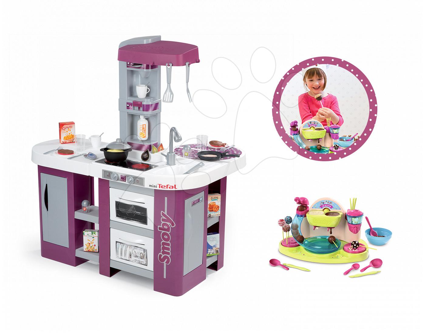 Set kuchyňka Tefal Studio XL Smoby s myčkou, lednicí, souprava na výrobu čokoládových lízátek