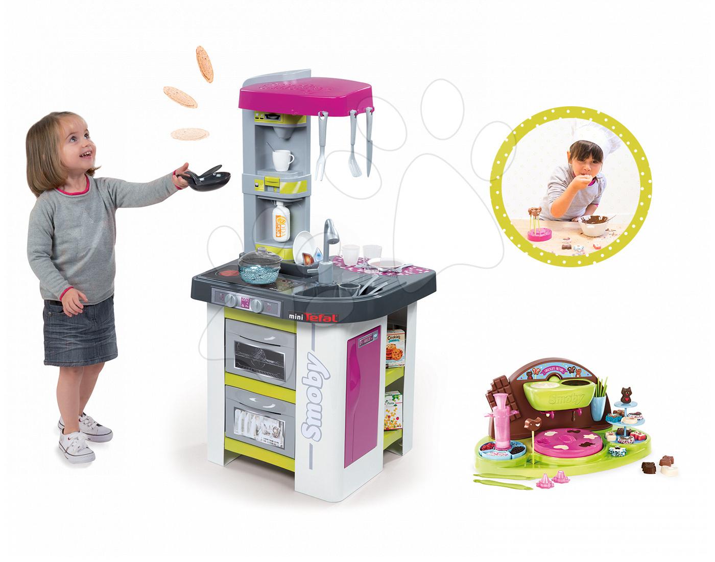 Kuchynky pre deti sety - Set kuchynka Tefal Studio BBQ Bublinky Smoby s magickým bublaním a Hravá kuchárka na výrobu čokoládových bonbónov
