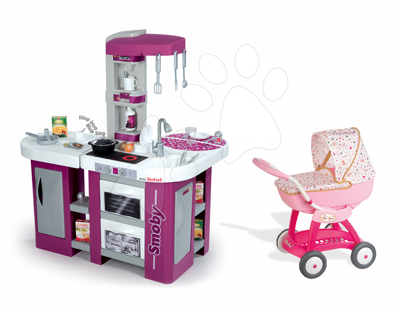 Kuchynky pre deti sety - Set kuchynka Tefal Studio XL Smoby s umývačkou riadu a chladničkou a hlboký kočík pre bábiku Baby Nurse (55 cm rúčka)