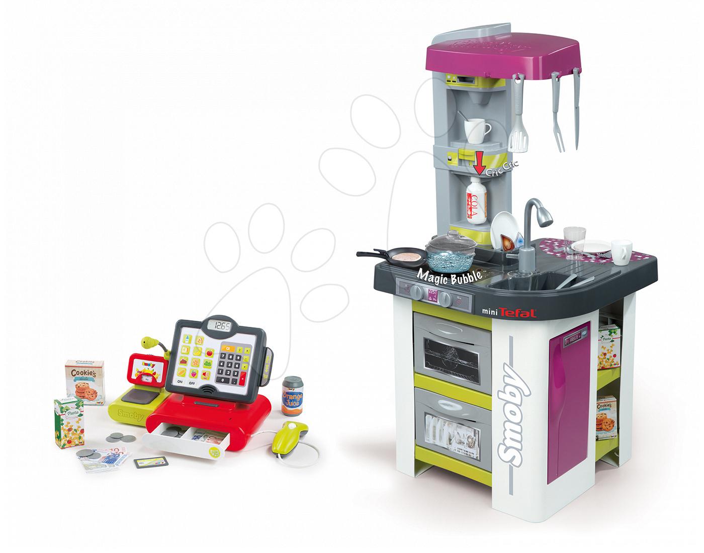 Set kuchyňka pro děti Tefal Studio BBQ Bublinky Smoby s magickým bubláním a elektronická dotyková pokladna