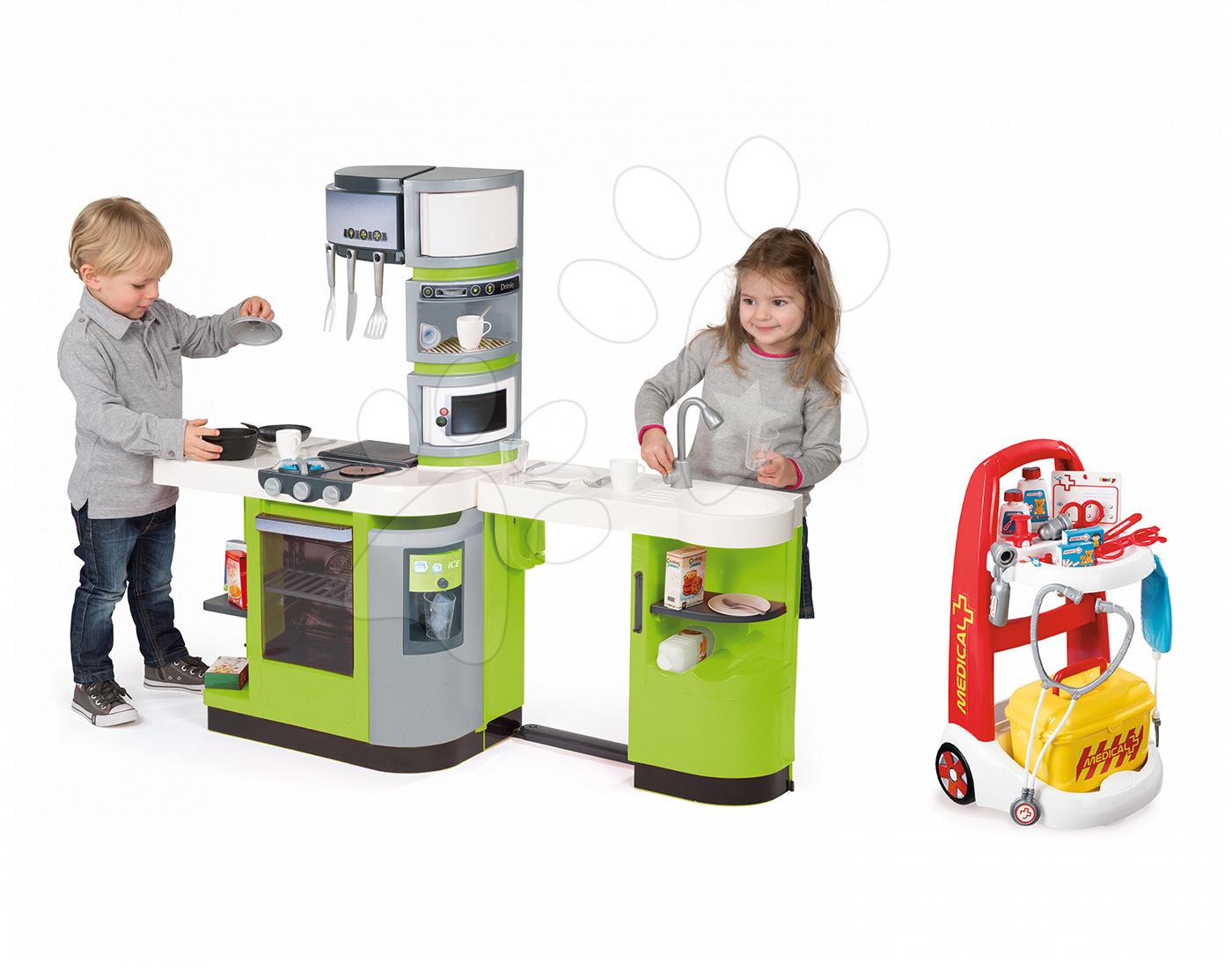 Set kuchyňka CookMaster Verte Smoby s ledem a zvuky a lékařský vozík