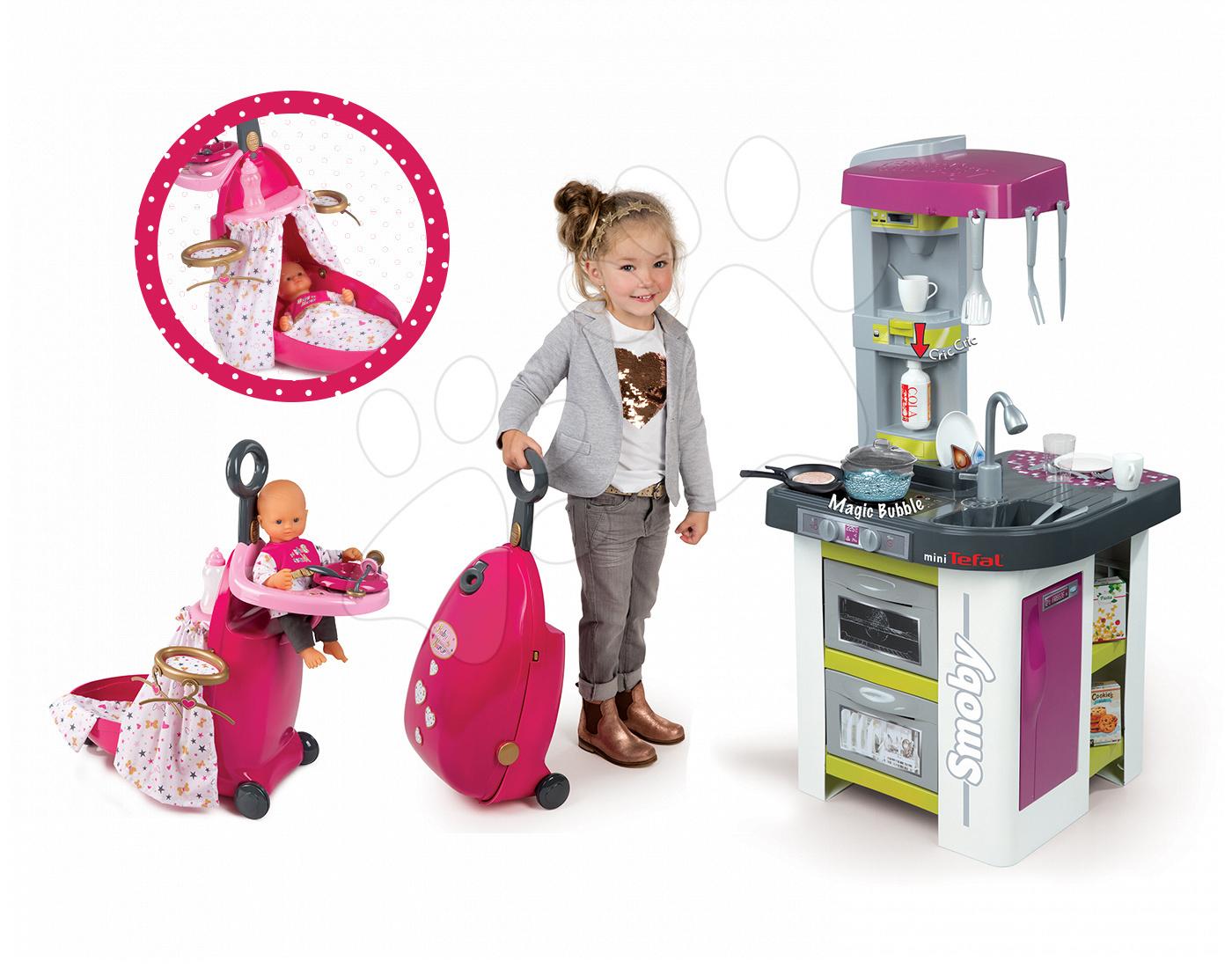 Set dětská kuchyňka Tefal Studio BBQ Bublinky Smoby s magickým bubláním a pečovatelský kufřík Minnie