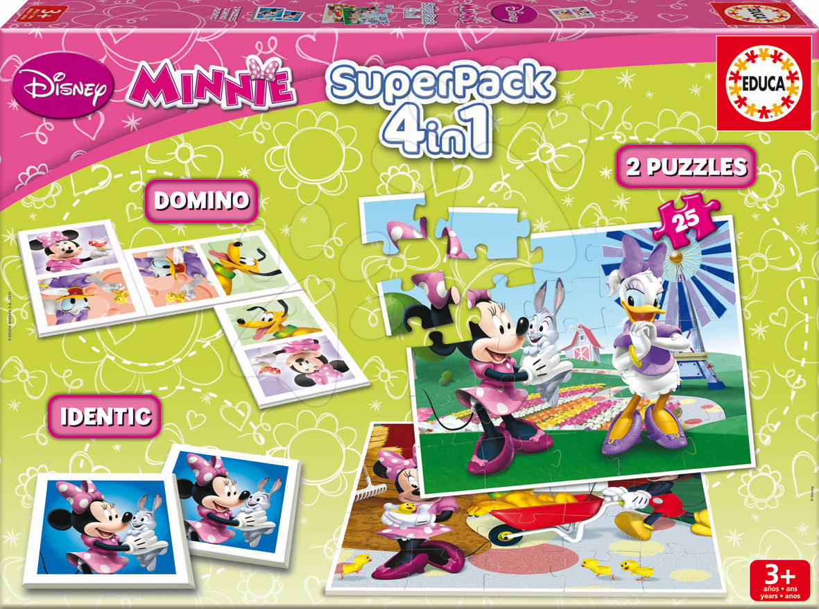 Puzzle Minnie Mouse SuperPack 4 v 1 Educa 2x puzzle, domino, pexeso