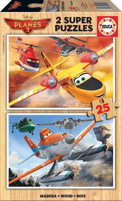 Drevené Disney puzzle - Drevené puzzle Lietadlá Educa 2x 25 dielov