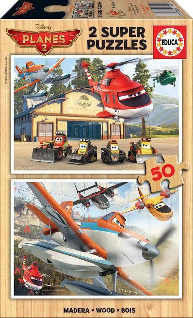 Drevené Disney puzzle - Drevené puzzle Lietadlá Educa 2x 50 dielov od 5 rokov