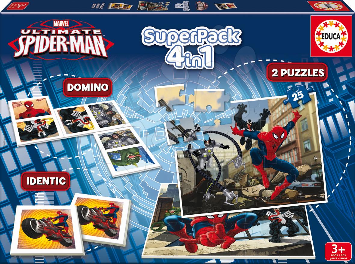 Progresívne detské puzzle - Puzzle Spiderman SuperPack 4 v 1 Educa 2x puzzle, domino, pexeso, progresívne