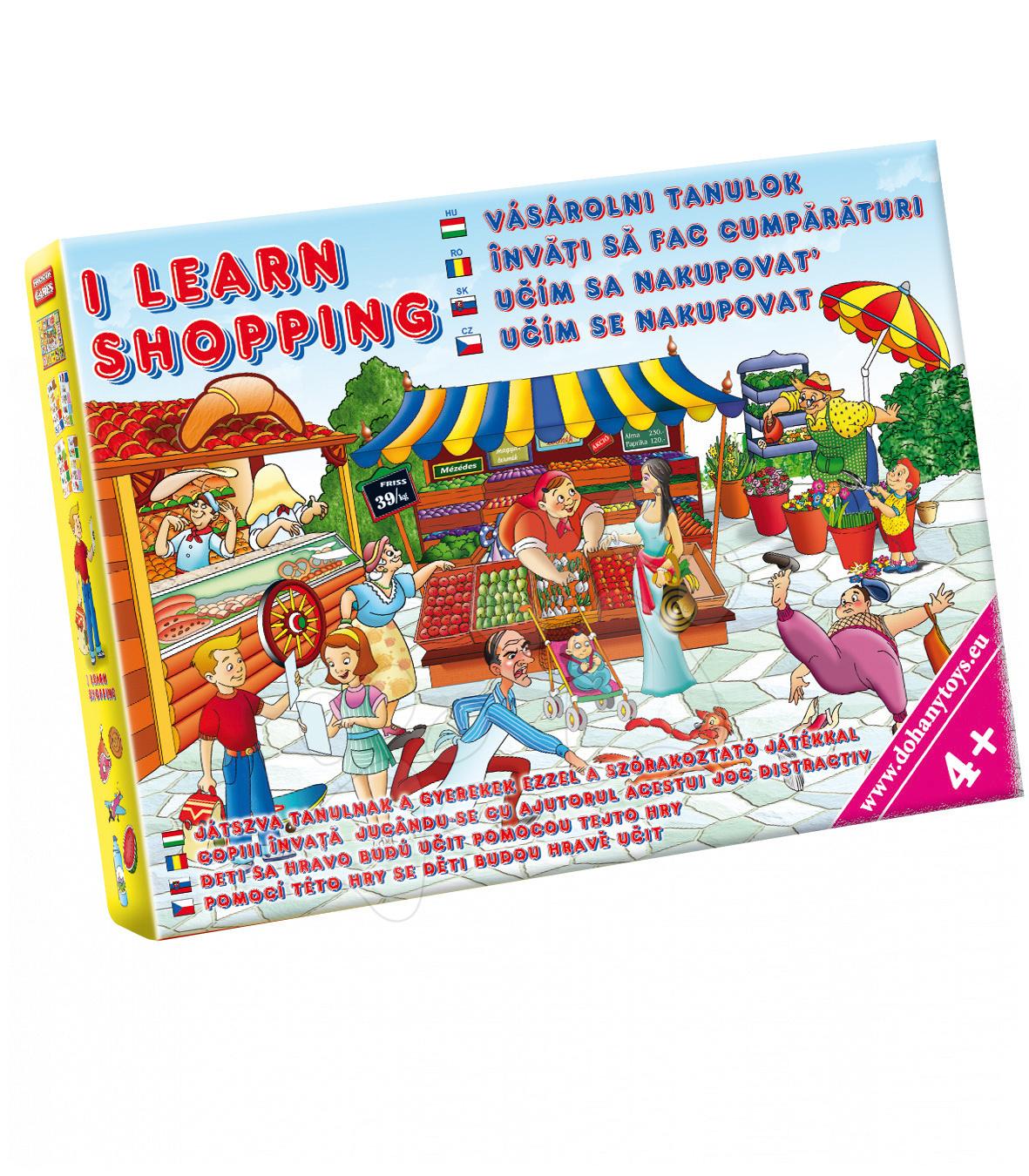 Společenská hra Učím se nakupovat Dohány hrací plocha, čtyři seznamy, 20 položek zboží, 4 figurky a kostka od 4 let