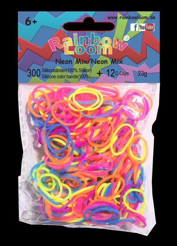 Rainbow Loom gumičky mix - Rainbow Loom originálne gumičky neónový mix modrý 300 kusov od 6 rokov