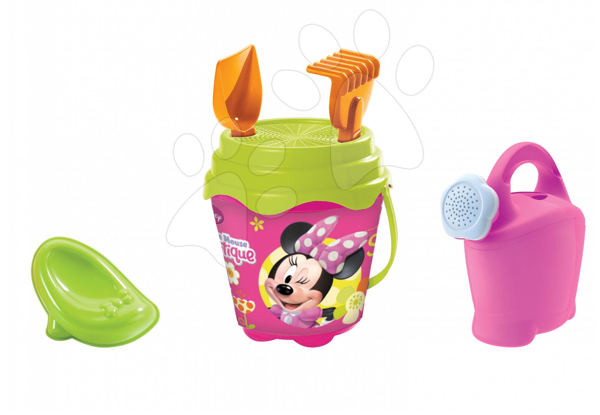 Găleți pentru nisip - Set găleată pentru nisipar Mondo cu stropitoare Minnie Mouse cu 7 accesorii (cu înălţime de 14 cm) de la 18 luni