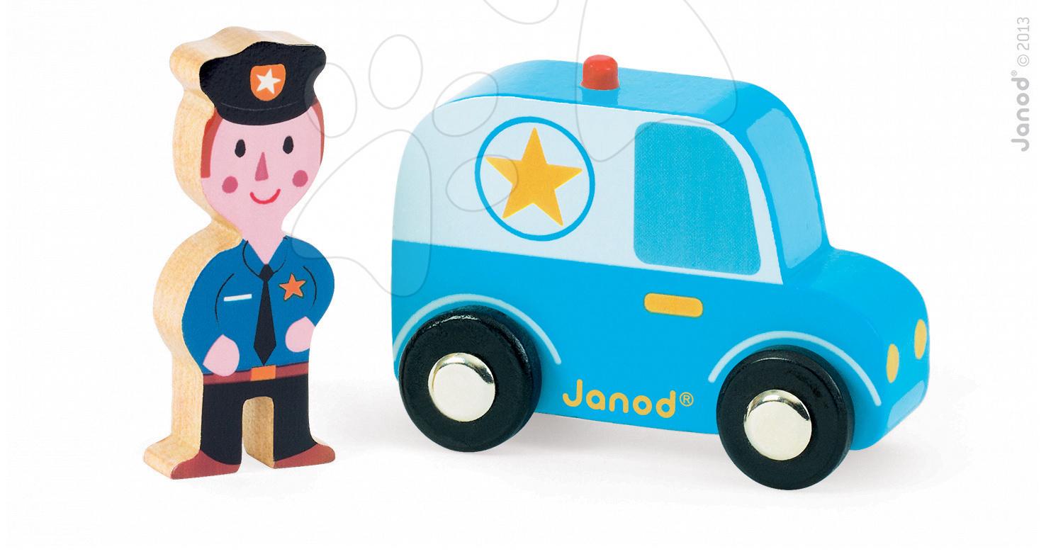 Dřevěné policejní auto Story Set Janod s policistou 2 dílky