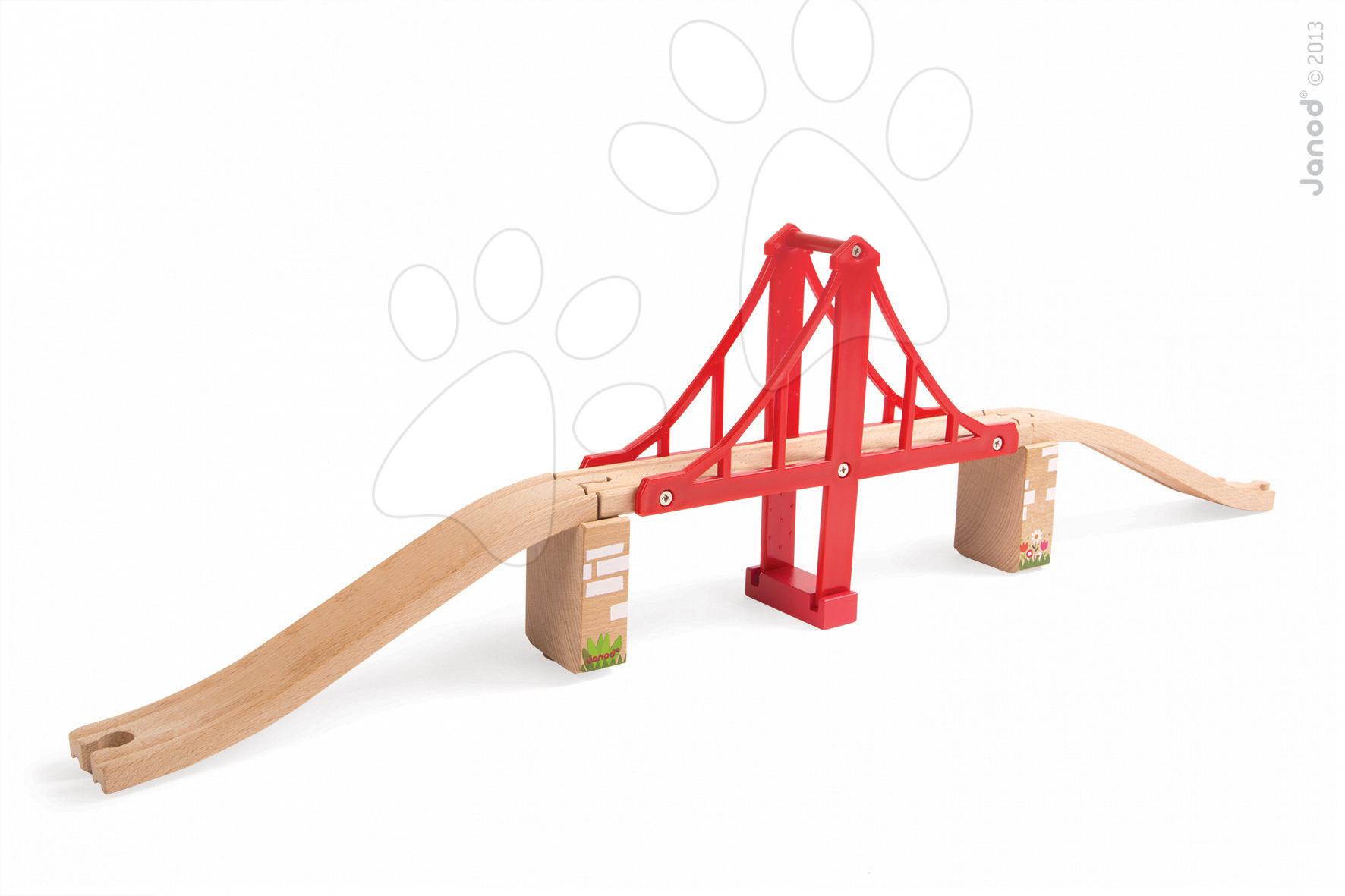 Dřevěné kolejnice Story Set Janod s visacím mostem