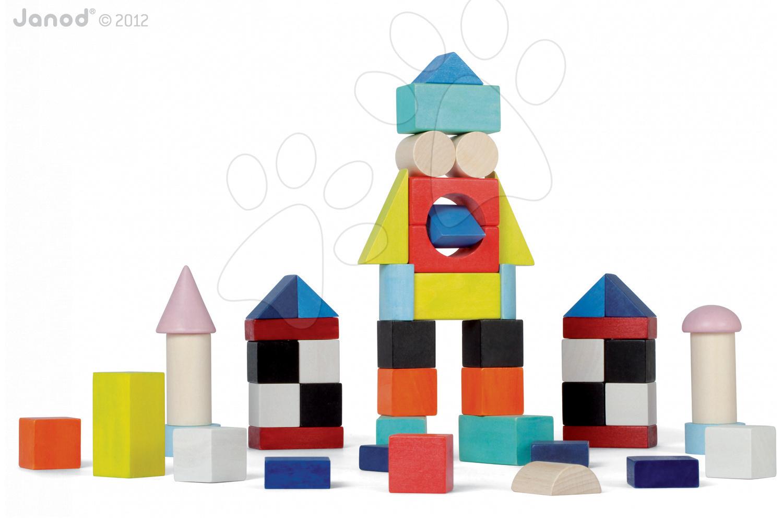 Drevené kocky Kubix - 50 Blocks Janod stavebnica 50 ks od 24 mes